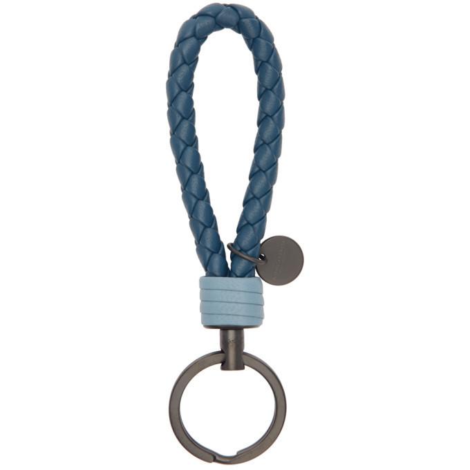 Photo: Bottega Veneta Blue Intrecciato Loop Keychain