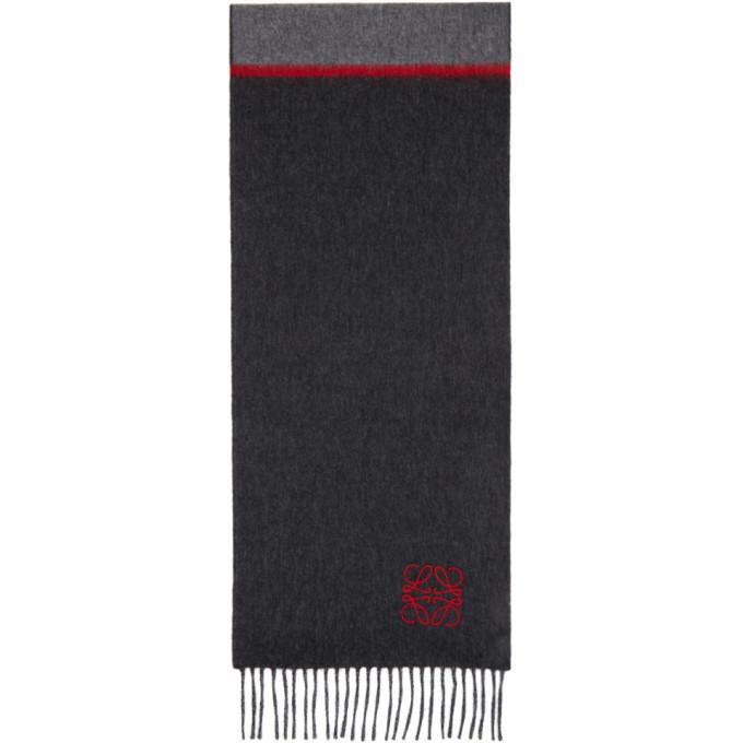 Photo: Loewe Grey and Red Window Anagram Scarf