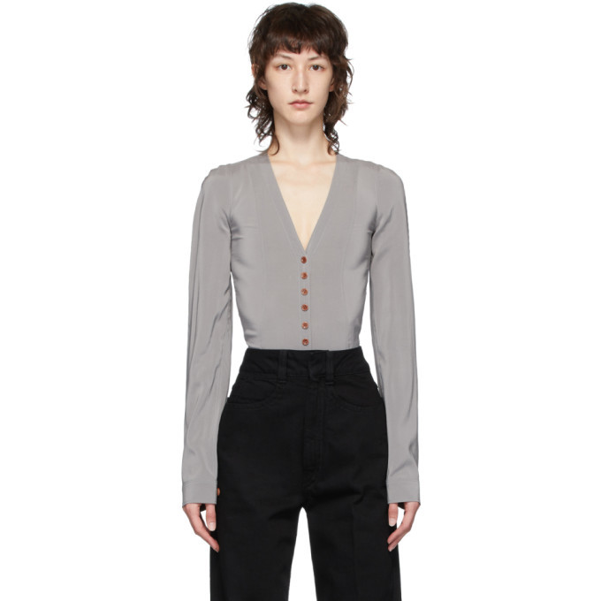 Photo: Lemaire Grey Silk Shirt Bodysuit