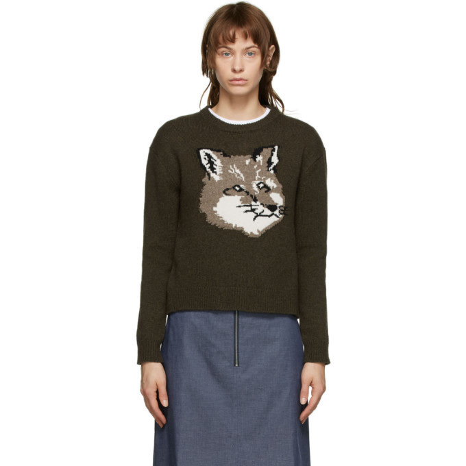 Photo: Maison Kitsune Khaki Fox Head Sweater