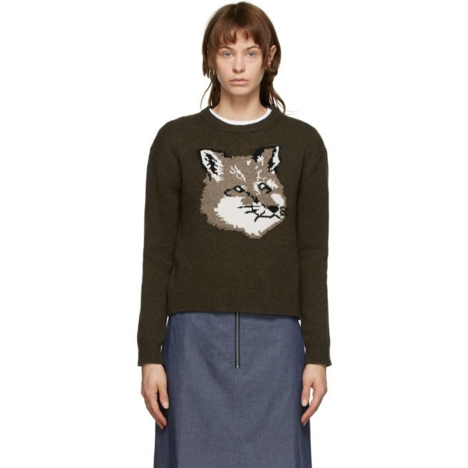 Photo: Maison Kitsune Khaki Fox Head Sweater