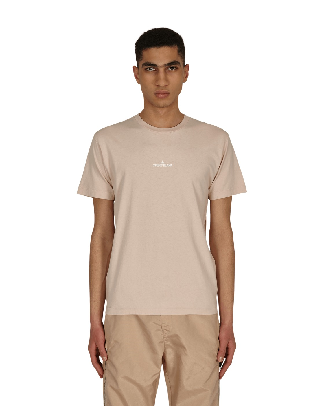 Stone Island Big Logo T Shirt Old Pink