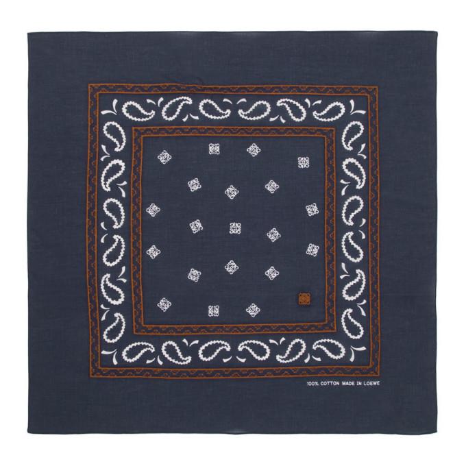 Photo: Loewe Navy Embroidered Monogram Bandana