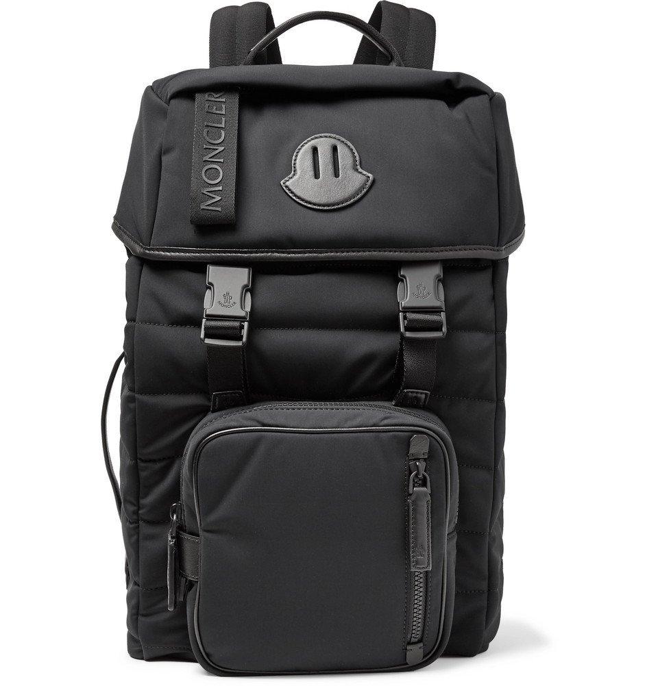 Photo: Moncler - Logo-Webbing and Leather-Trimmed Quilted Nylon Backpack - Men - Black