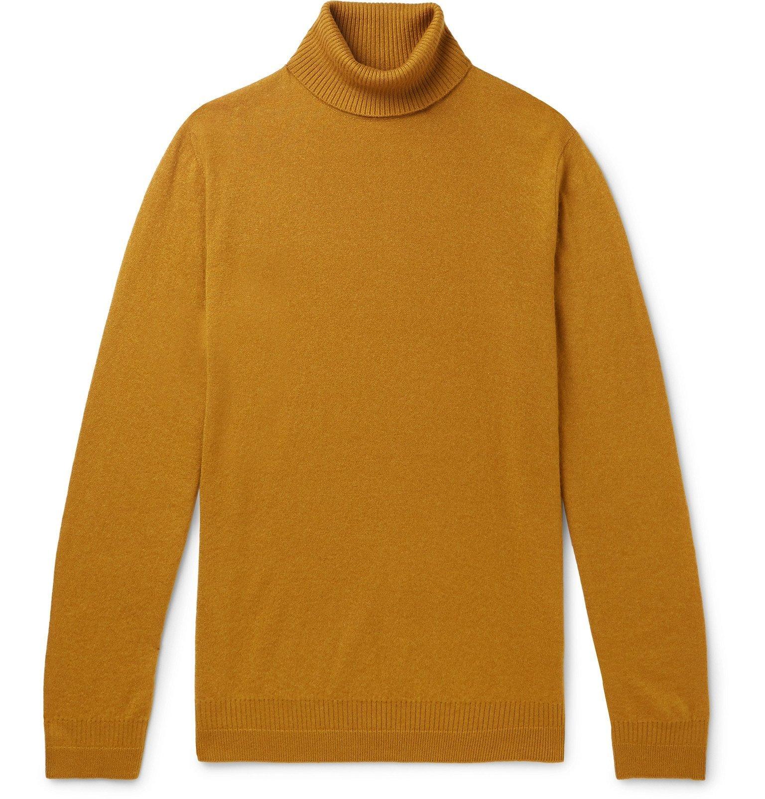 Photo: Loro Piana - Cashmere and Silk-Blend Rollneck Sweater - Yellow