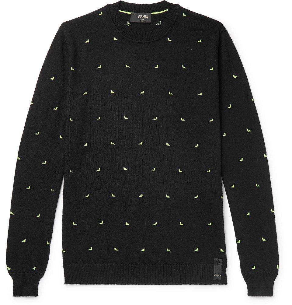 Photo: Fendi - Slim-Fit Intarsia Wool-Blend Sweater - Black