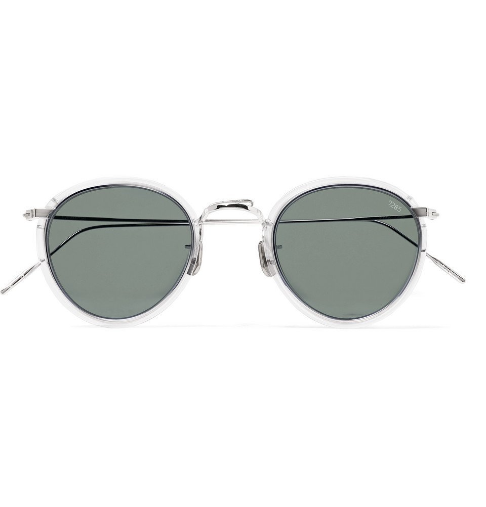 Photo: Eyevan 7285 - Round-Frame Acetate and Silver-Tone Sunglasses - Black