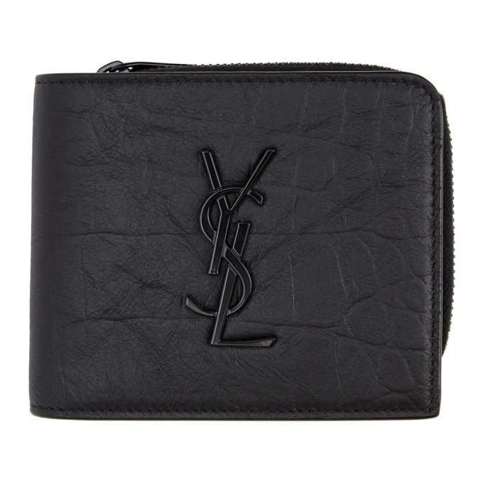 Photo: Saint Laurent Black Croc Monogramme Wallet