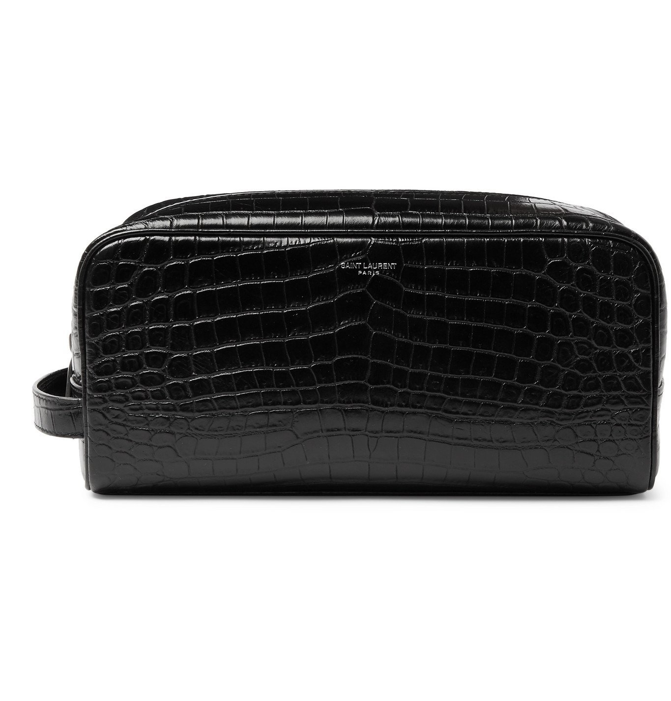 Photo: SAINT LAURENT - Croc-Effect Leather Wash Bag - Black