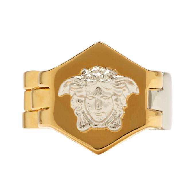 Photo: Versace Silver and Gold Watch Line Medusa Ring