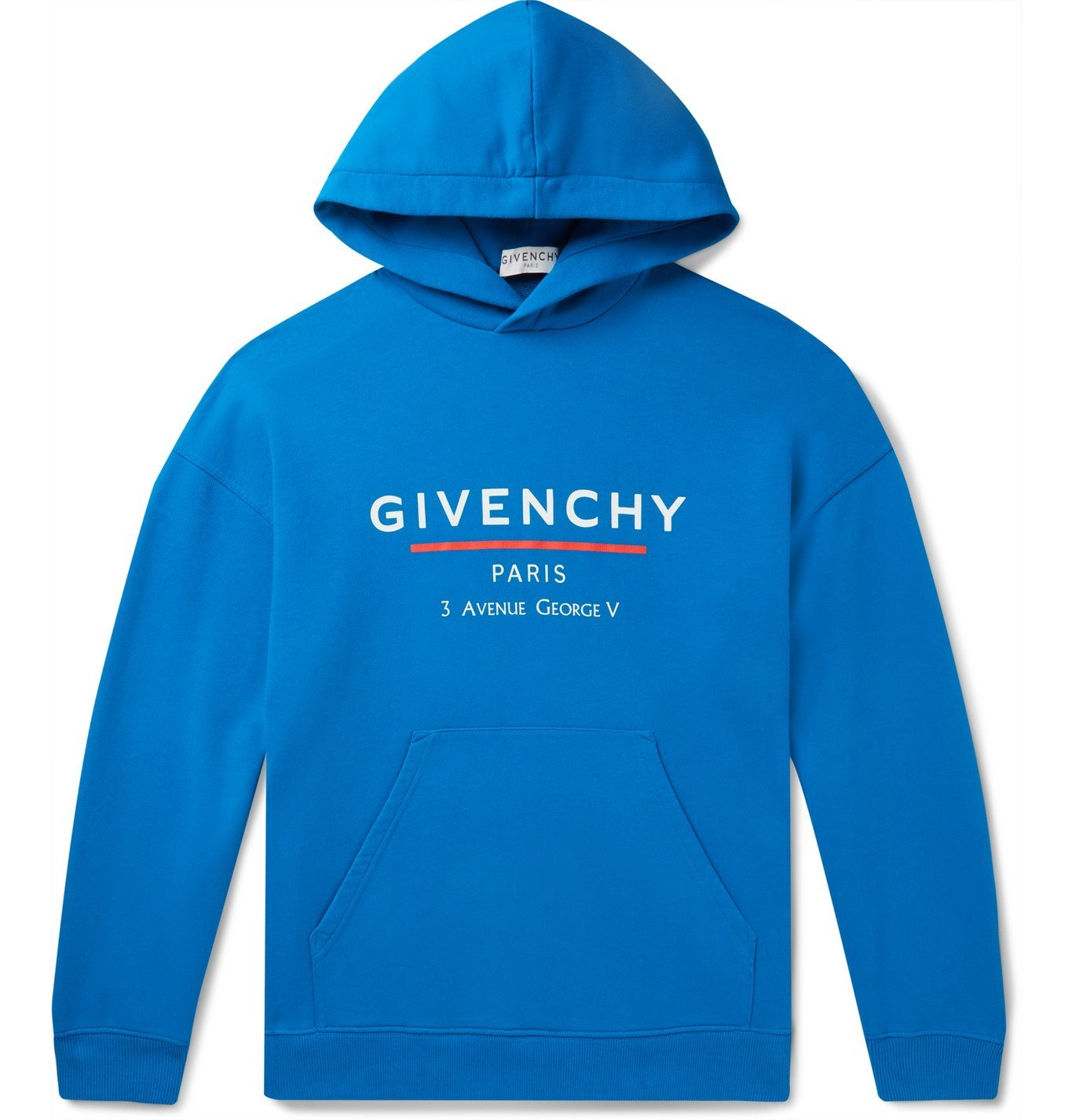 Photo: Givenchy - Logo-Print Loopback Cotton-Jersey Hoodie - Blue