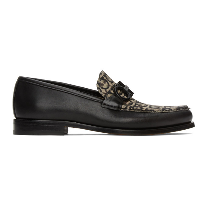 Photo: Salvatore Ferragamo Black and Beige Rolo 8 Loafers