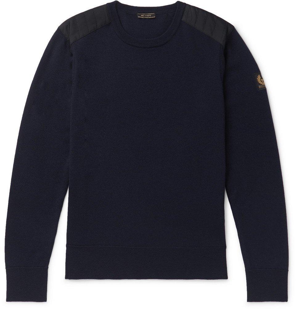 Belstaff - Kerrigan Slim-Fit Shell-Trimmed Wool Sweater - Navy