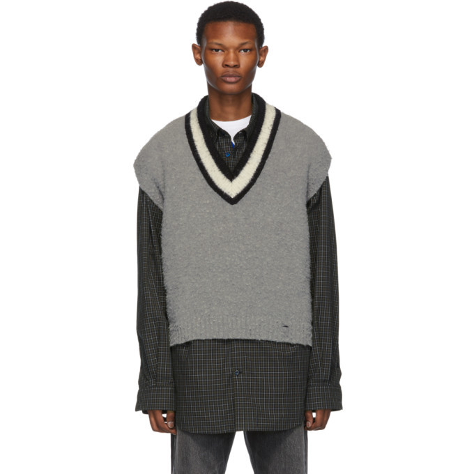 Photo: Off-White Grey and Off-White Wool Varsity Sleeveless Sweater