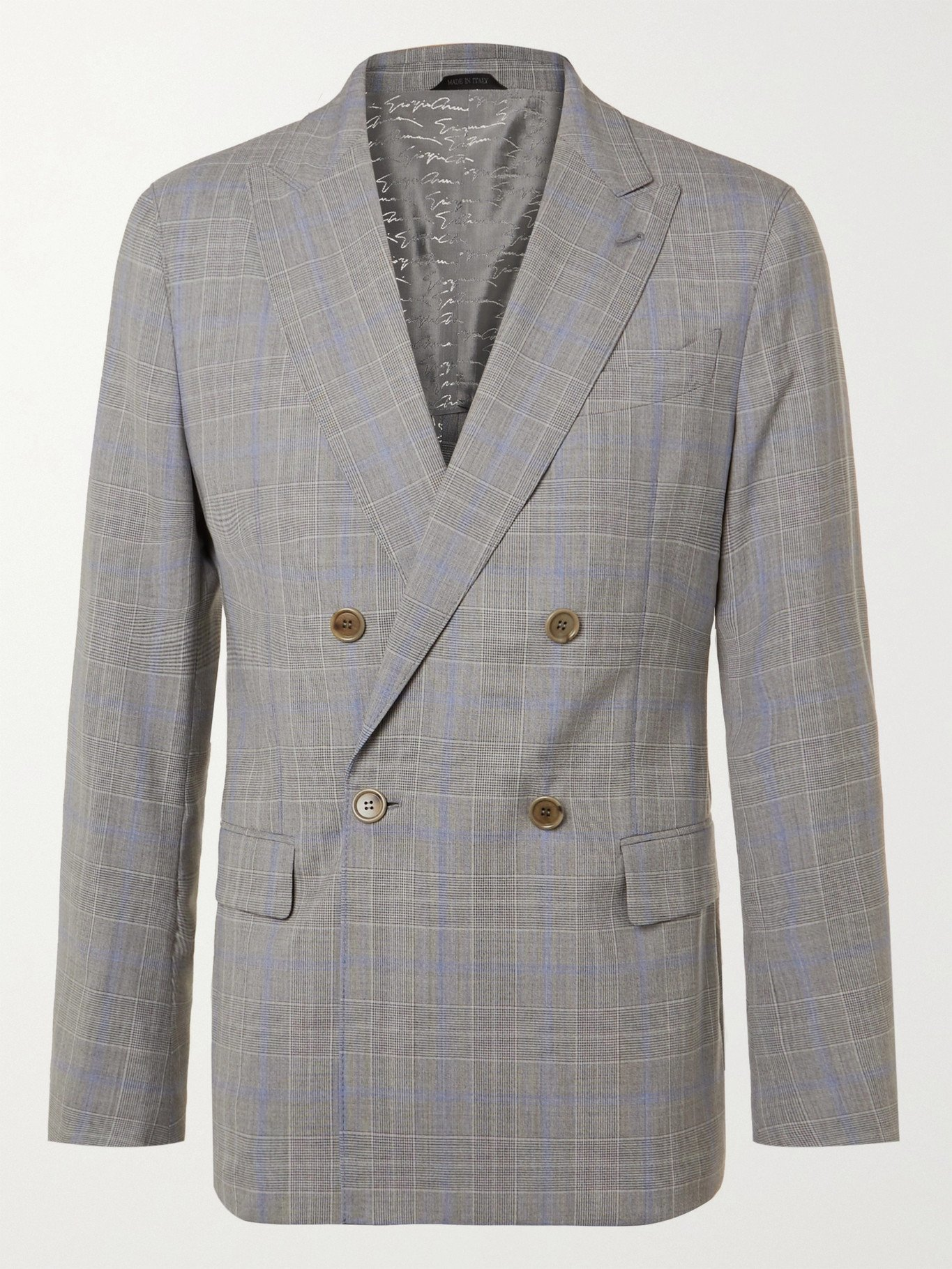 Photo: GIORGIO ARMANI - Slim-Fit Double-Breasted Prince Of Wales Checked Wool Suit Jacket - Gray - IT 46