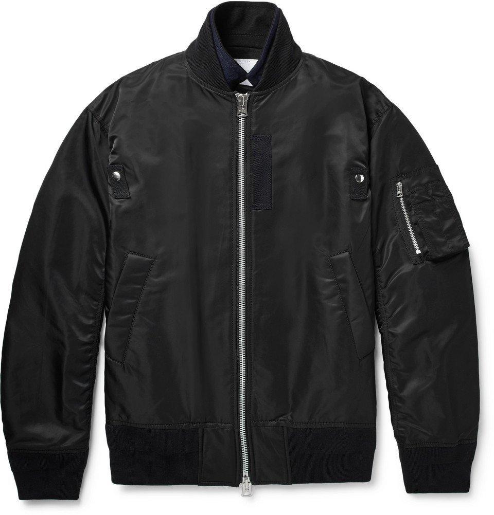 Sacai - Layered Grosgrain-Trimmed Nylon and Wool Bomber Jacket - Men - Black