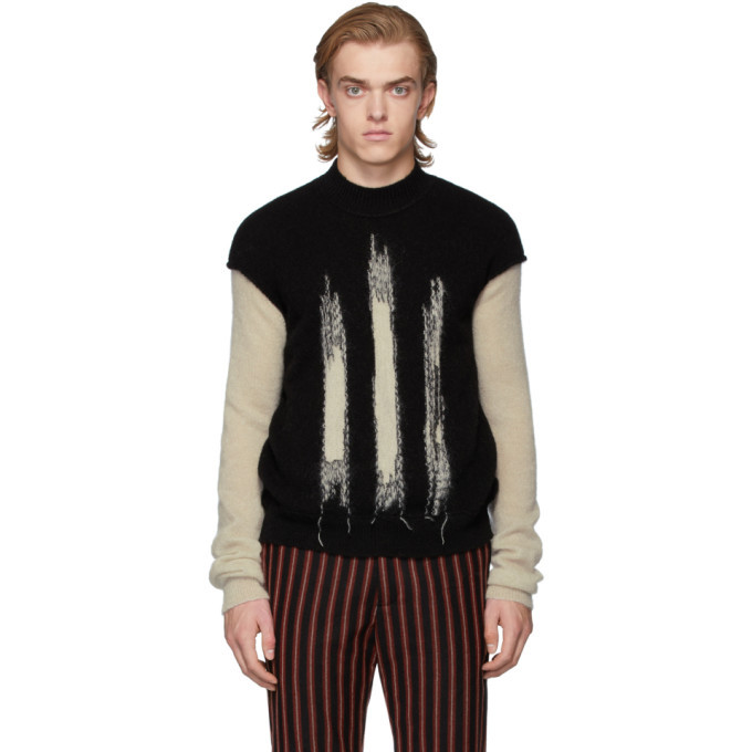 Photo: Ann Demeulemeester Black and Off-White Crewneck Sweater