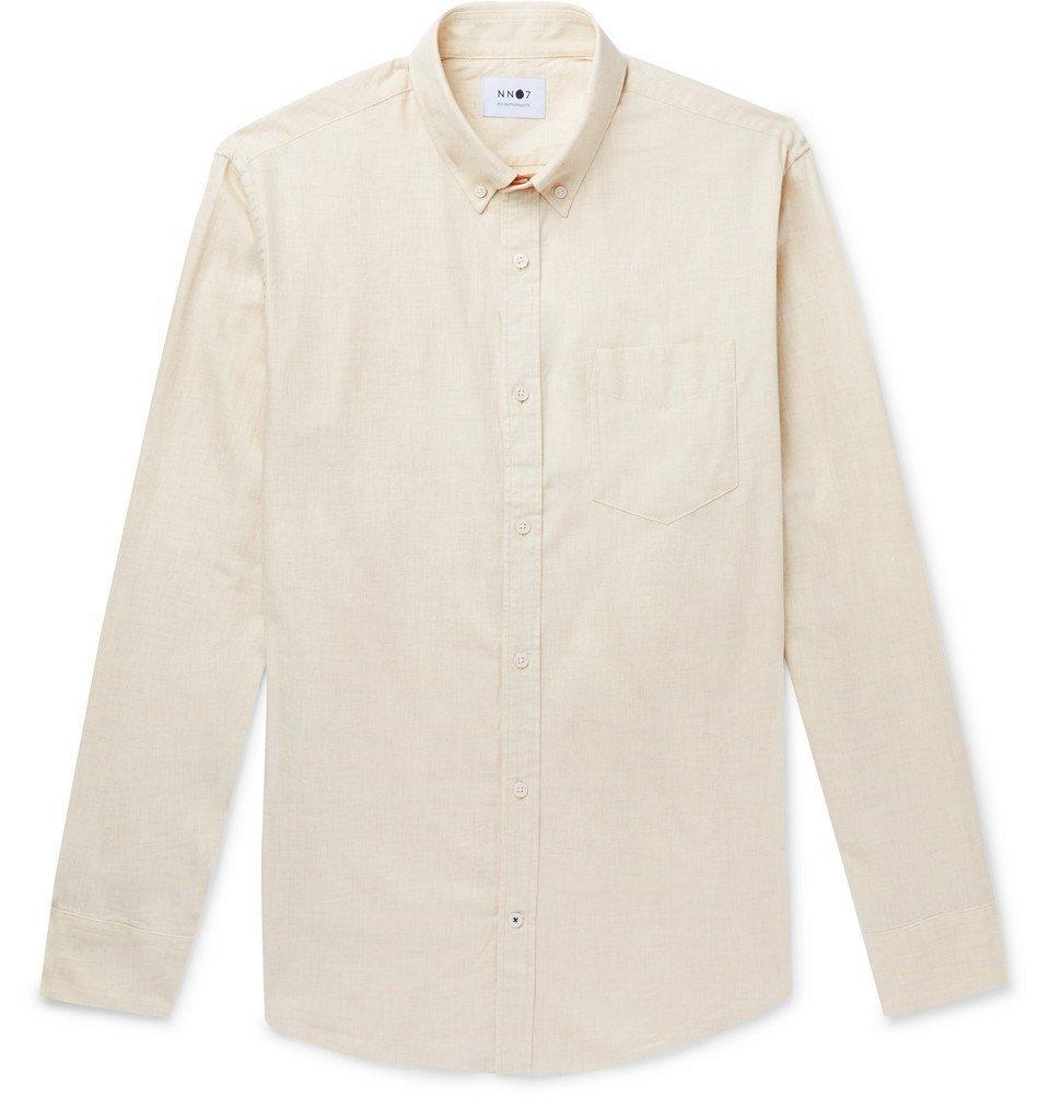 Photo: NN07 - Levon Button-Down Collar Brushed Cotton-Flannel Shirt - Ecru