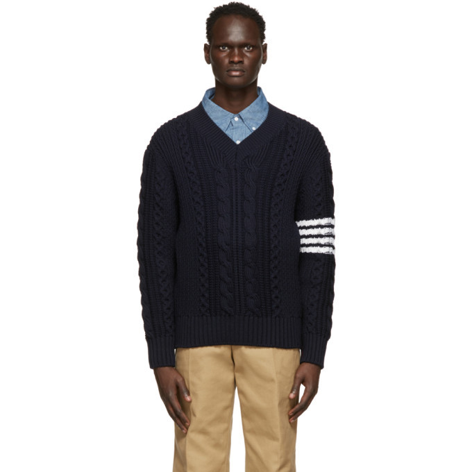 Photo: Thom Browne Navy Aran Cable 4-Bar V-Neck Sweater