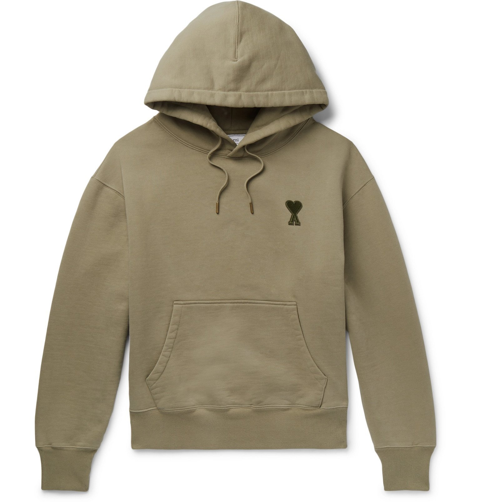 Photo: AMI - Logo-Embroidered Fleece-Back Cotton-Jersey Hoodie - Green