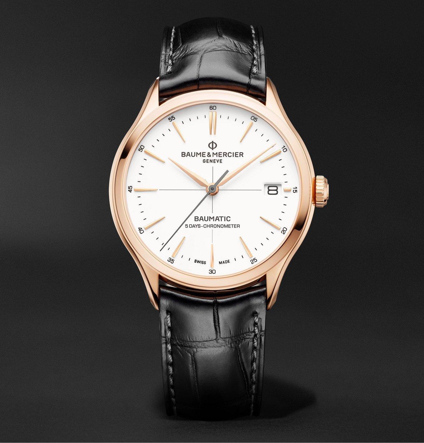 Photo: Baume & Mercier - Clifton Baumatic Automatic Chronometer 39mm 18-Karat Rose Gold and Alligator Watch, Ref. No. M0A10469 - White