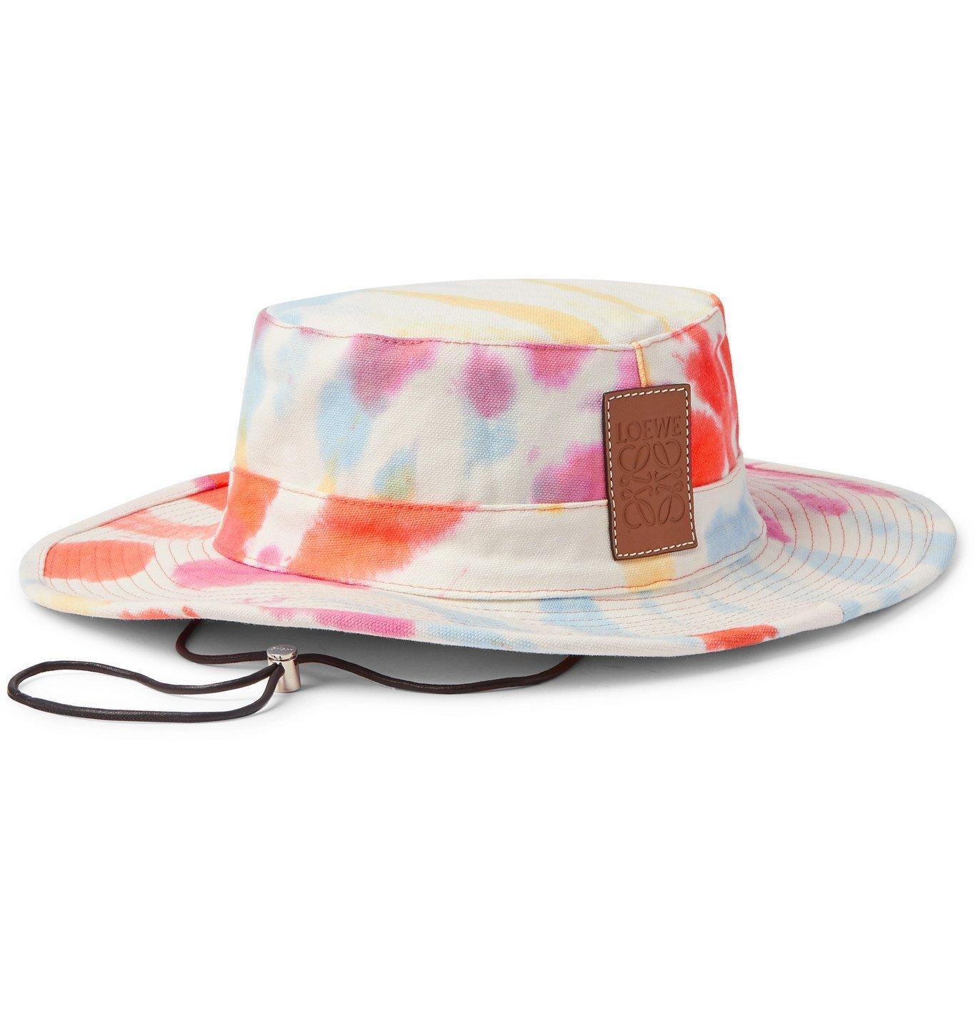Photo: Loewe - Paula's Ibiza Logo-Detailed Tie-Dyed Canvas Bucket Hat - Multi