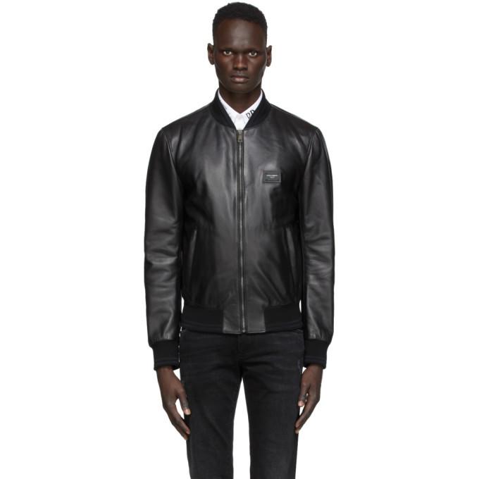 Photo: Dolce and Gabbana Black Leather Bomber Jacket
