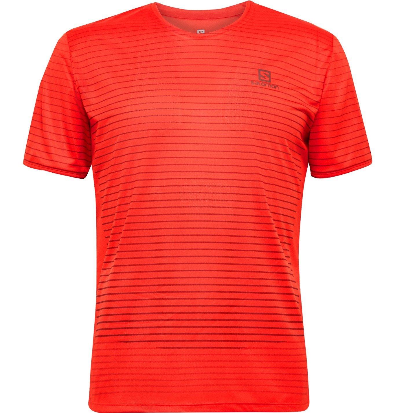 Photo: Salomon - Sense Logo-Print Striped 37.5 Stretch-Jersey T-Shirt - Red
