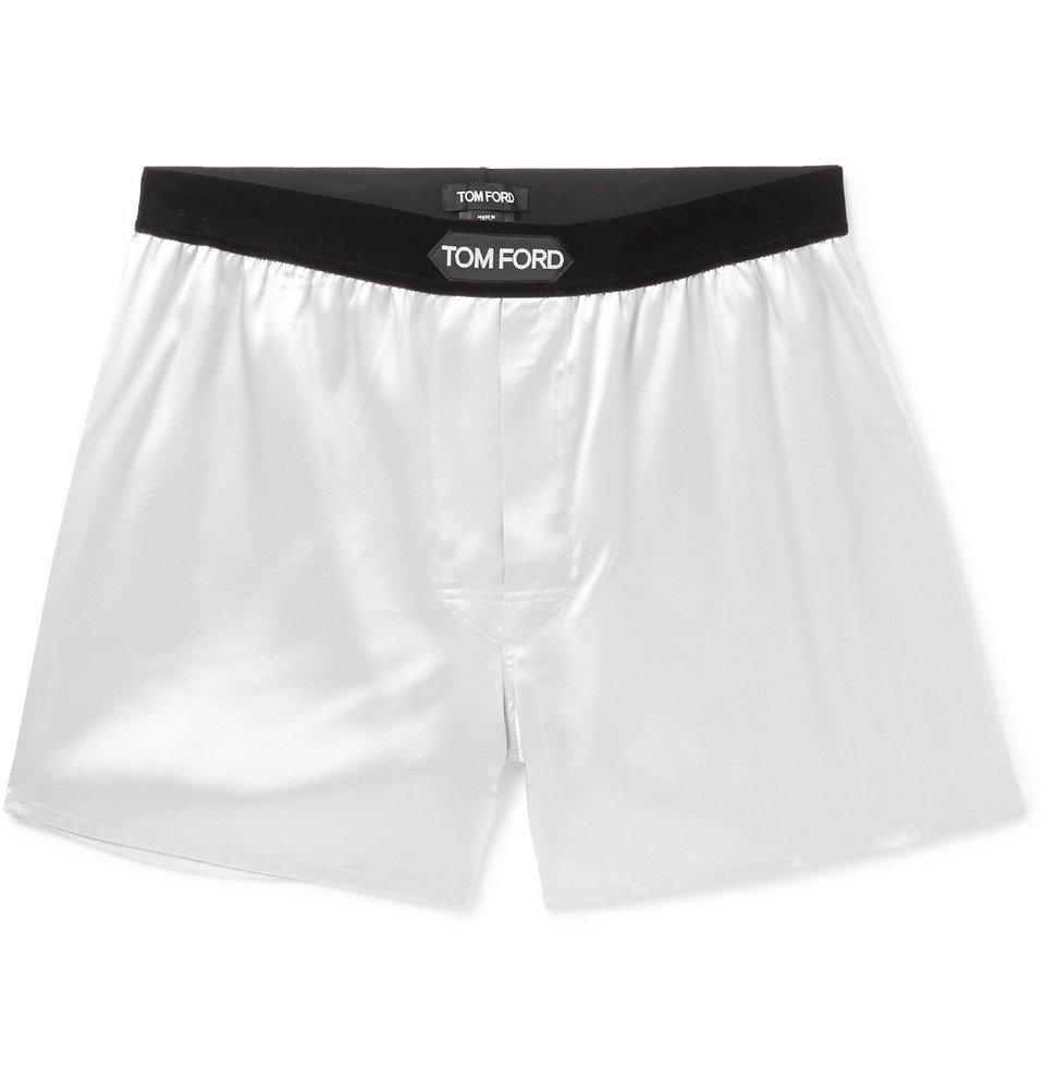 Photo: TOM FORD - Velvet-Trimmed Stretch-Silk Satin Boxer Shorts - Gray