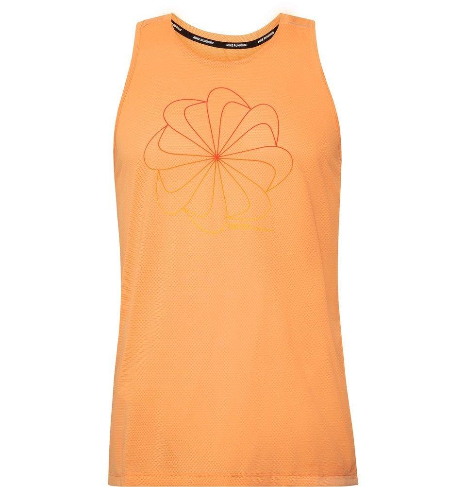 Photo: Nike Running - Miler Printed Dri-FIT Mesh Tank Top - Orange