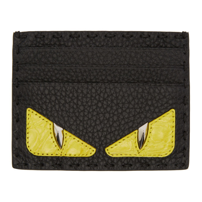 Photo: Fendi Black Croc Bag Bugs Card Holder