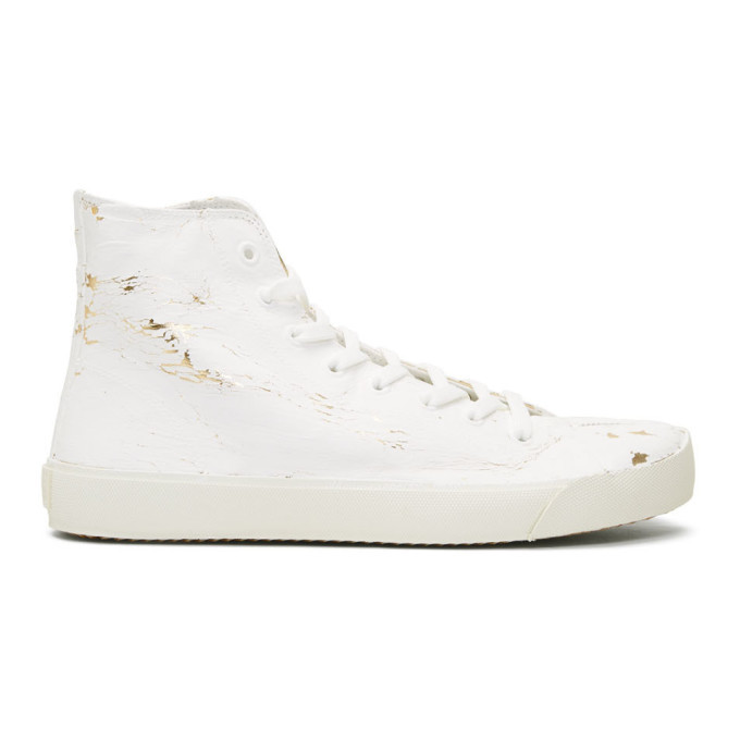 Photo: Maison Margiela White and Gold Tabi High-Top Sneakers