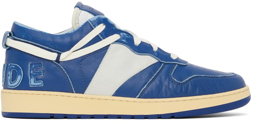 Photo: Rhude SSENSE Exclusive Navy Rhecess Low Sneakers