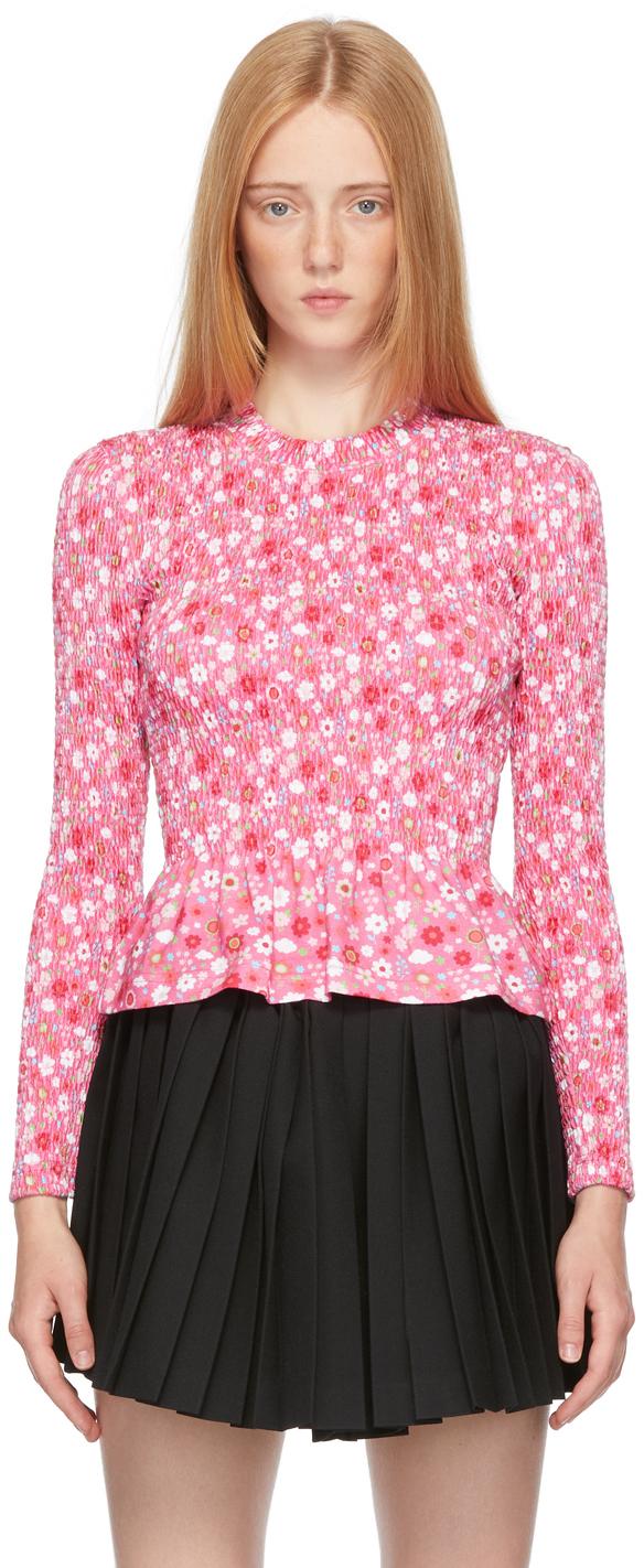 Photo: Balenciaga Pink Floral Smocking Long Sleeve T-Shirt