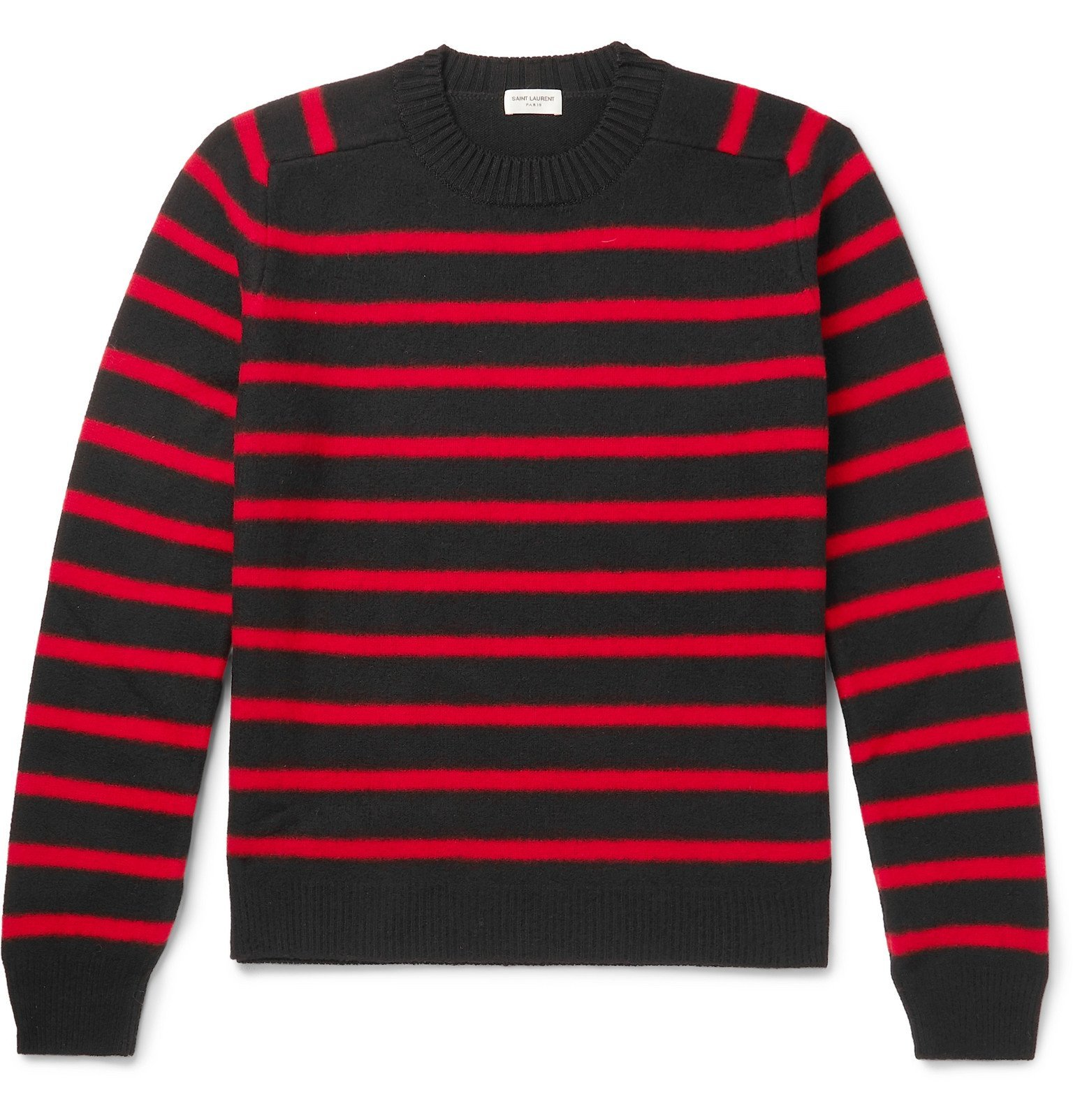 Photo: SAINT LAURENT - Slim-Fit Striped Virgin Wool Sweater - Red