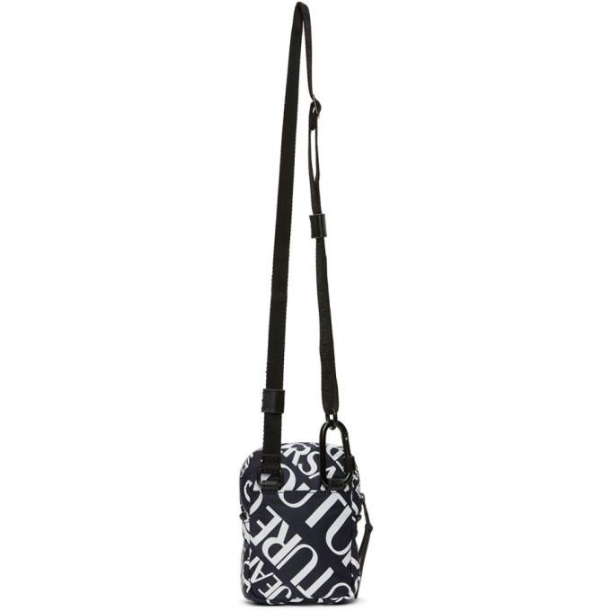 Versace Jeans Couture Navy Allover Logo Crossbody Bag
