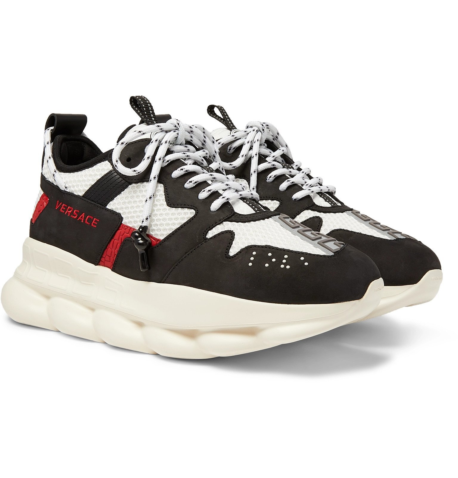 Versace - Chain Reaction 2.0 Panelled Suede and Mesh Sneakers - Black