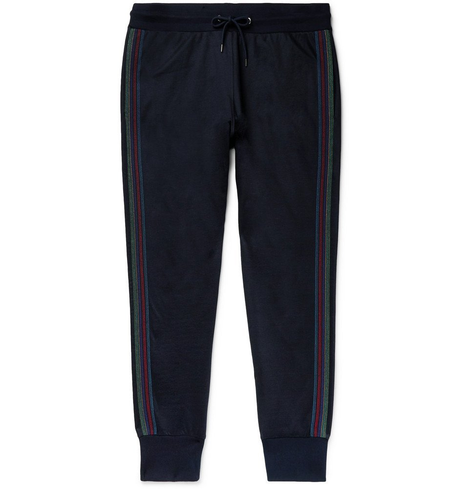 Photo: PS by Paul Smith - Slim-Fit Striped Cotton-Blend Jersey Sweatpants - Navy