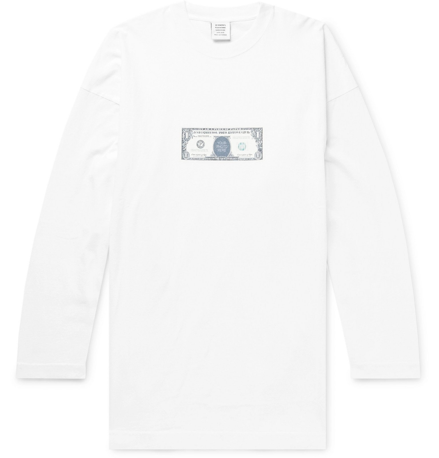 Photo: Vetements - Printed Cotton-Jersey T-Shirt - White