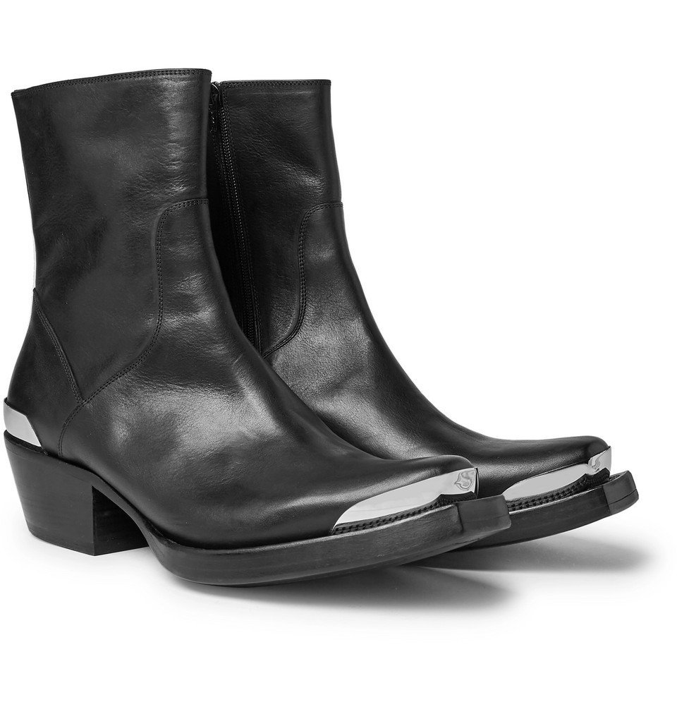 Photo: Vetements - Metal-Tipped Leather Boots - Black