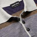 Giorgio Armani - Slim-Fit Striped Silk, Cashmere and Linen-Blend Polo Shirt - Blue