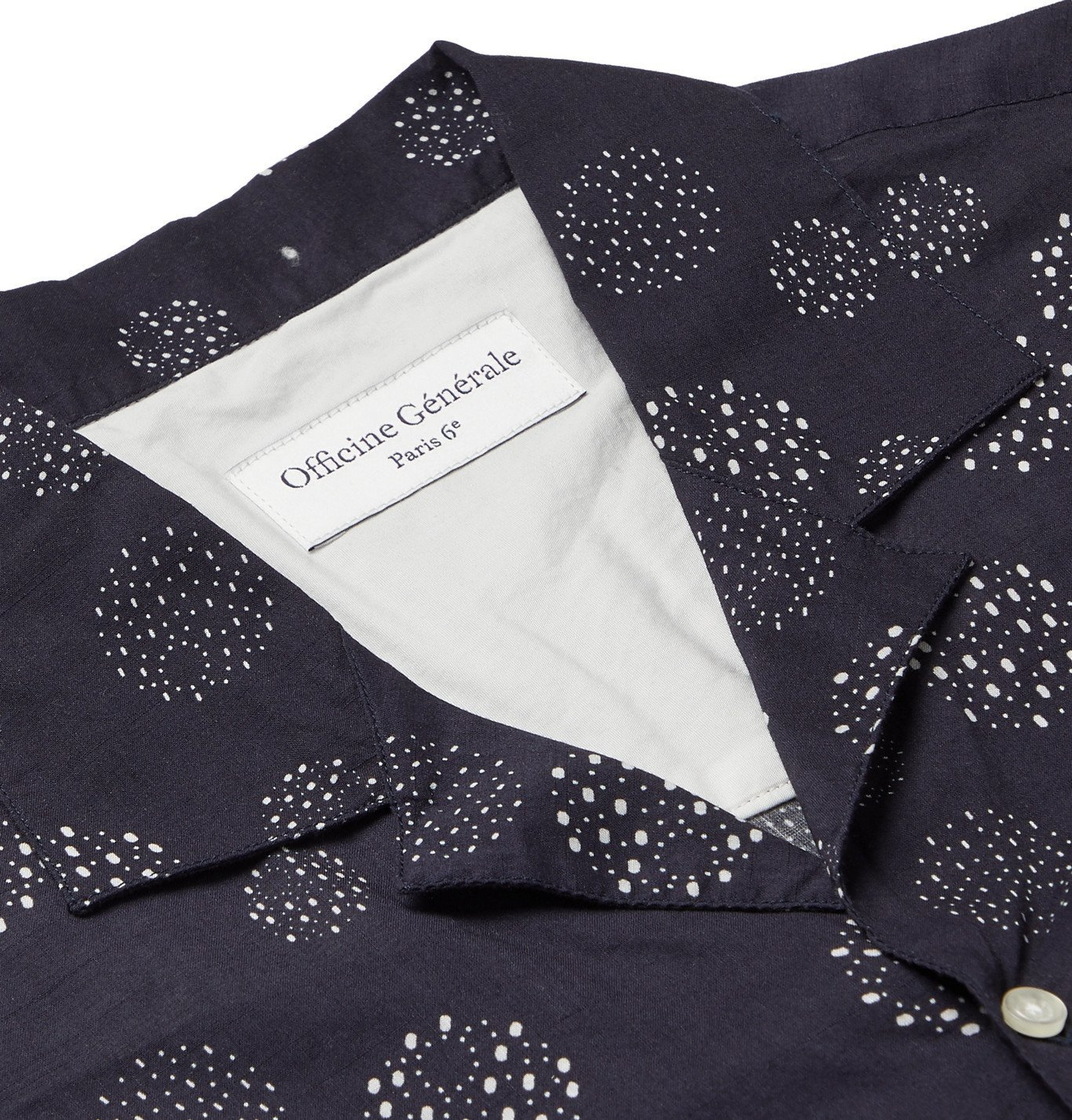 Officine Generale - Dario Camp-Collar Printed Cotton-Voile Shirt - Blue