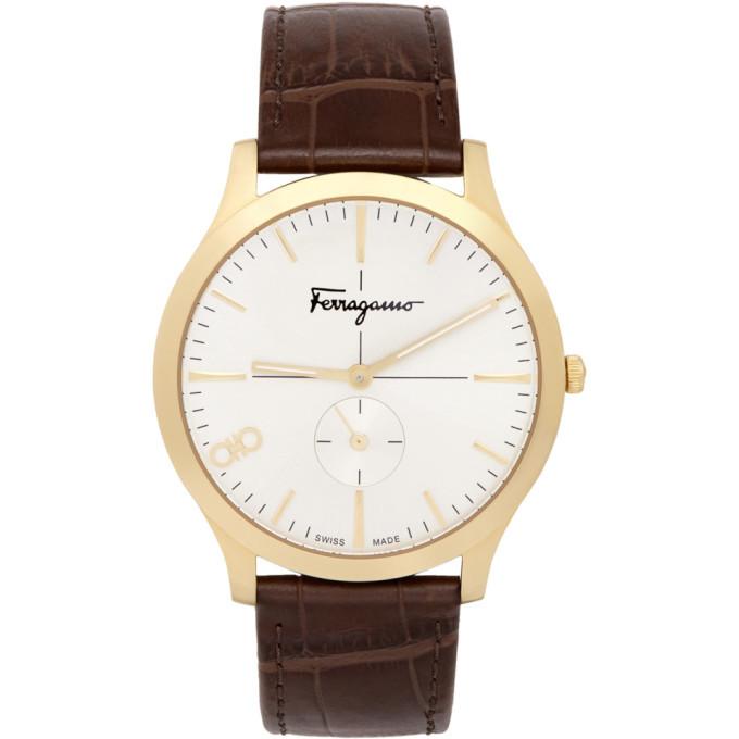 Photo: Salvatore Ferragamo Gold Croc Leather Ferragamo Slim Watch