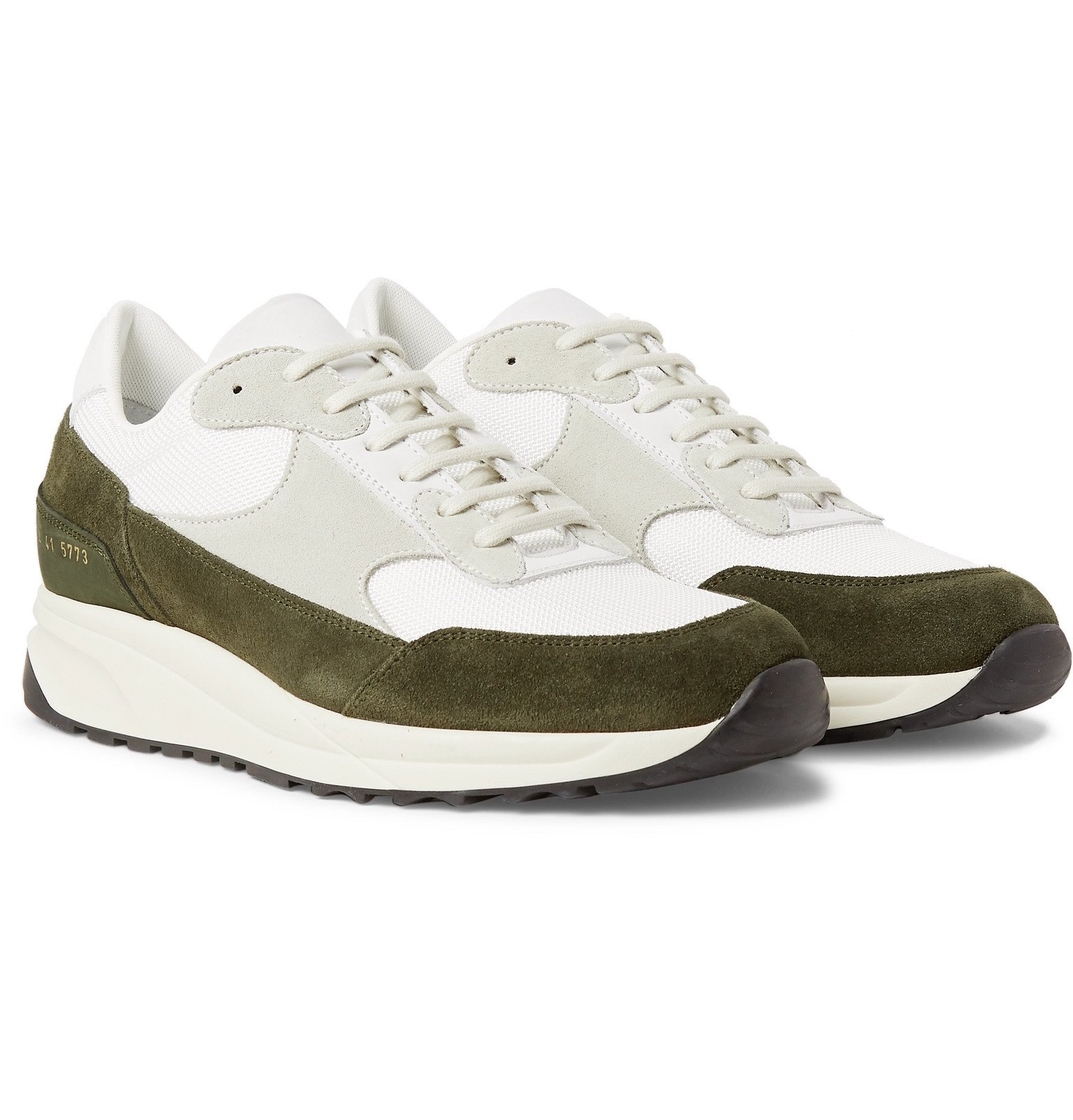 Photo: Common Projects - Track Classic Nubuck, Suede and Mesh Sneakers - Green