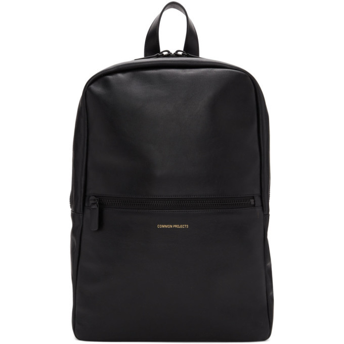 Photo: Common Projects Black Leather Simple Backpack