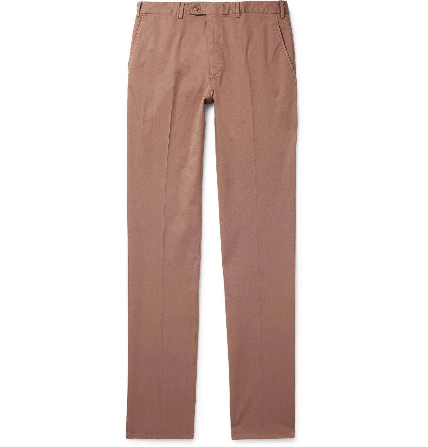 Photo: Brioni - Slim-Fit Cotton-Blend Twill Chinos - Pink