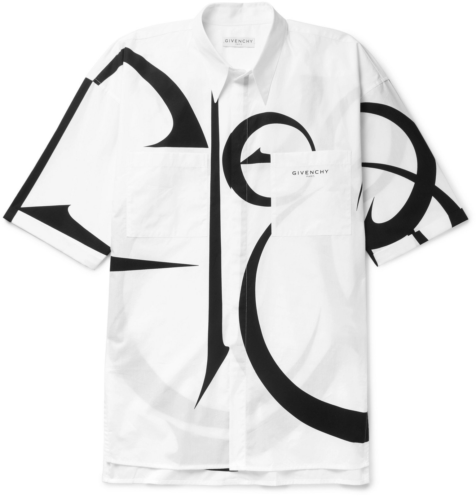 Photo: Givenchy - Oversized Printed Cotton-Poplin Shirt - White