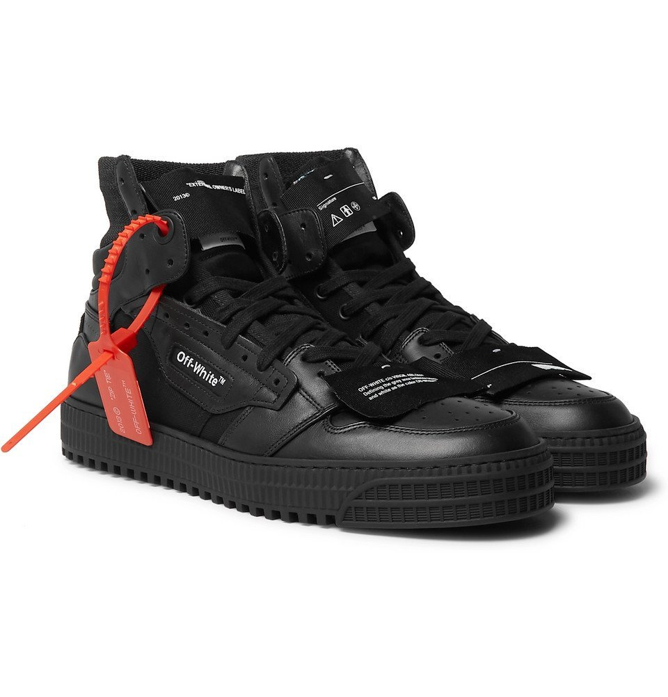 Photo: Off-White - Off-Court Full-Grain Leather and Canvas High-Top Sneakers - Black