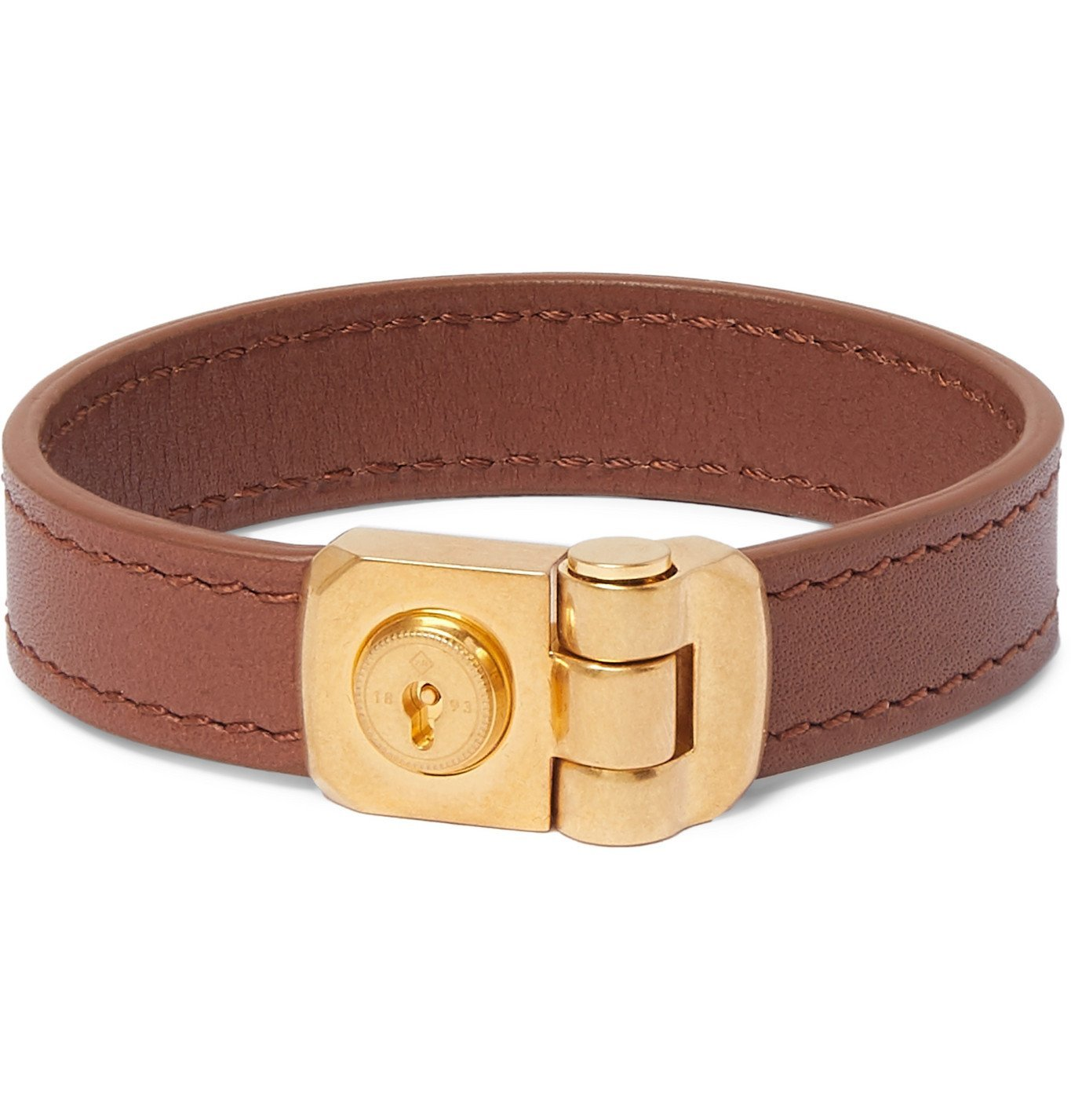 Dunhill - Leather and Gold-Tone Bracelet - Brown