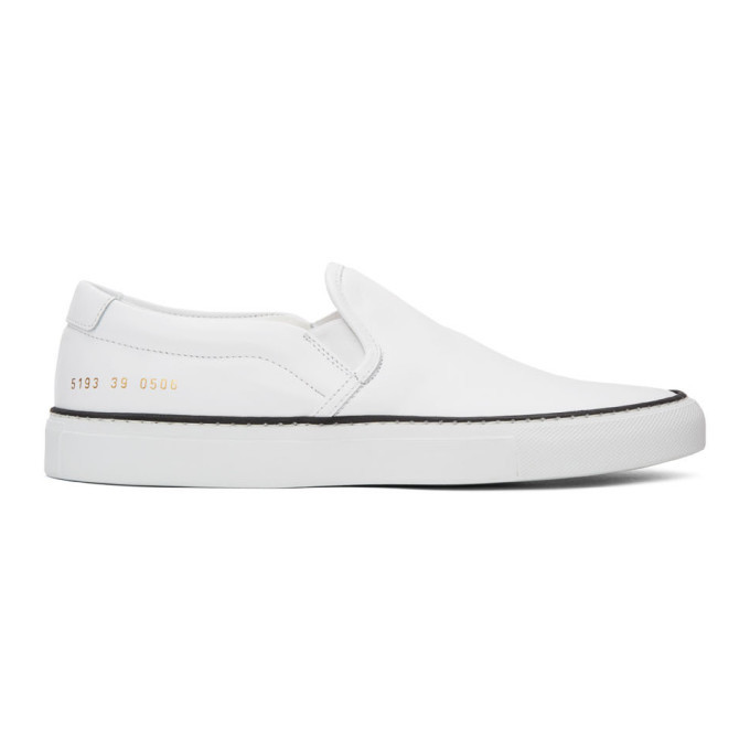 Common Projects White Leather Slip-On Sneakers
